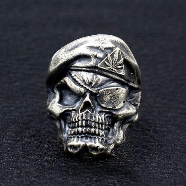 Sterling Silver Cyclopia Berets Skull Ring
