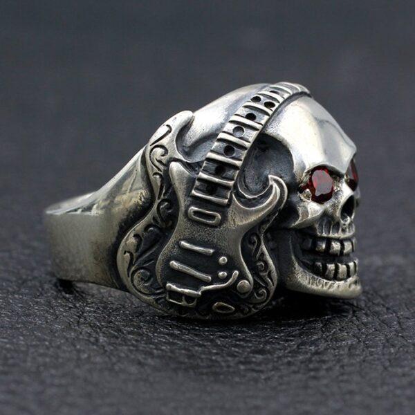 Sterling Silver Guitar Band Skull Ring