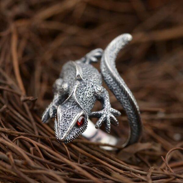 Men's Sterling Silver Lizard Ring