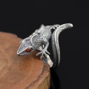 Men's Sterling Silver Lizard Ring