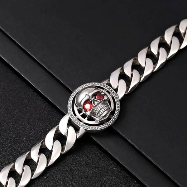 Mens Sterling Silver Red Eye Skull Bracelet