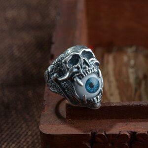 Sterling Silver Skull Eyeball Ring