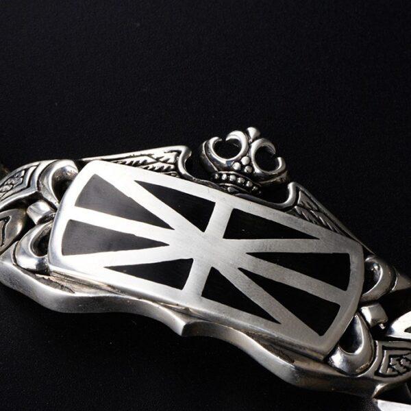 Sterling Silver United Kingdom Flag Bracelet