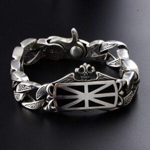 Men's Sterling Silver United Kingdom Flag Bracelet