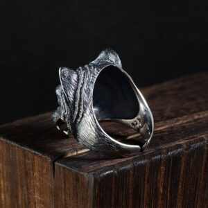 Men's Sterling Silver Wolf Head Ring