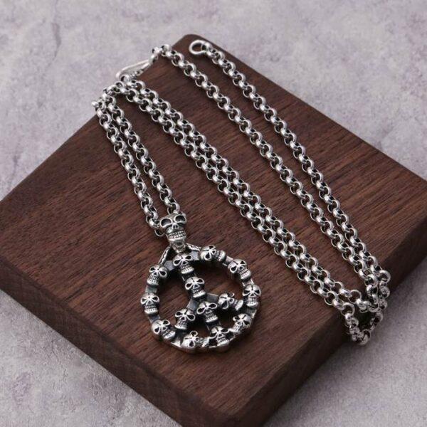 Peace Symbol Skull Pendant Necklace