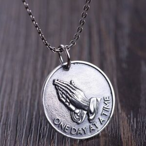 Praying Hands Disc Pendant Necklace