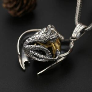 Silver Dragon Skull Pendant Necklace