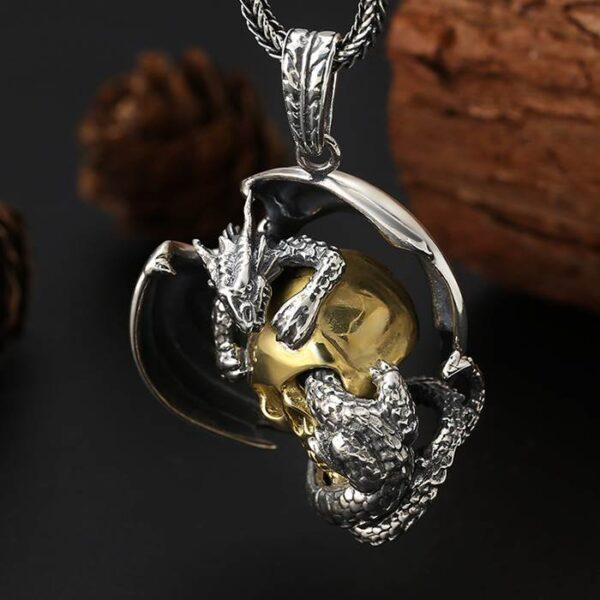 Silver Dragon Skull Pendant Necklace