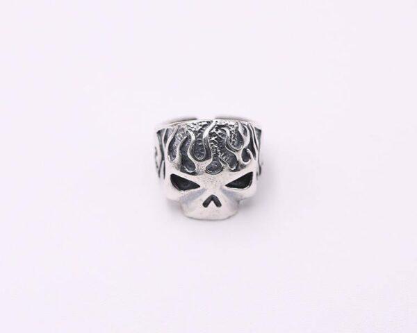 Silver Flame Skull Biker Ring