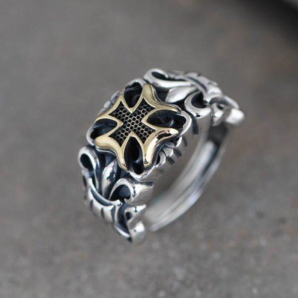 Silver Fleur De Lis Cross Ring