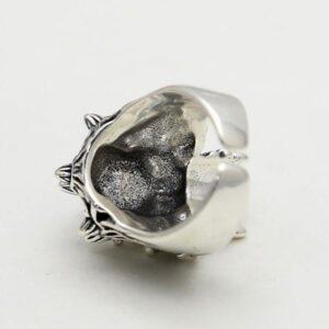 Silver Golden Horn Skull Ring