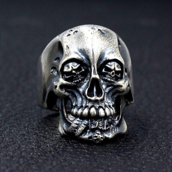 Silver King Of Skull Ring