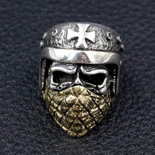 Silver Masked Crusader Skull Ring