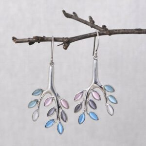 Silver Tree Dangle Earrings