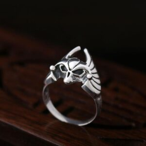 Sterling Silver Bat Skull Ring