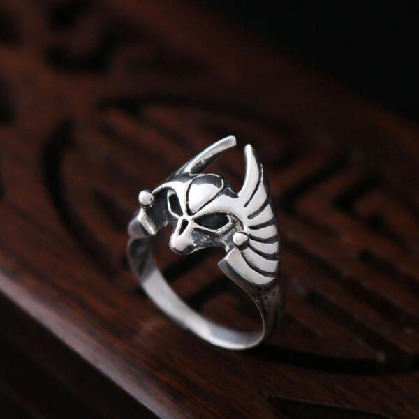 Sterling Silver Bat Skull Ring