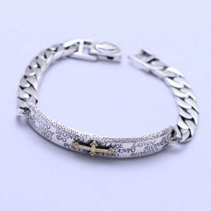 Sterling Silver Cross Id Cuban Chain Bracelet