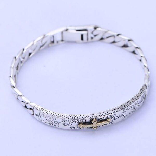 Sterling Silver Cross Id Cuban Chain Bracelet