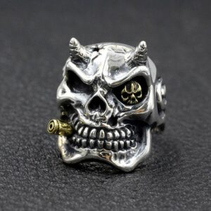 Sterling Silver Demon Skull Ring