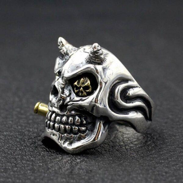 Sterling Silver Demon Skull Ring