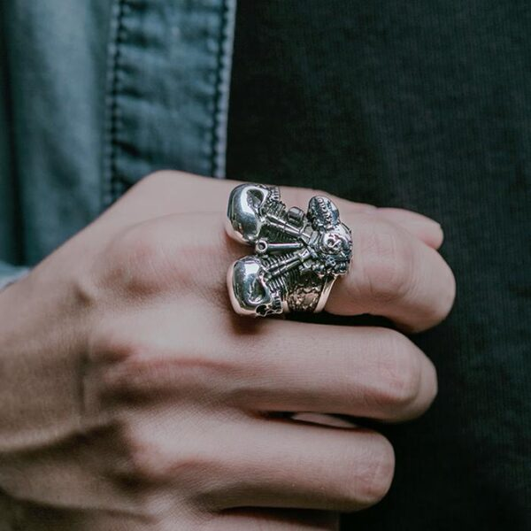 Sterling Silver Engine Skull Biker Ring