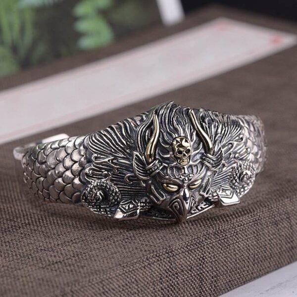 Sterling Silver Evil Eagle Cuff Bracelet