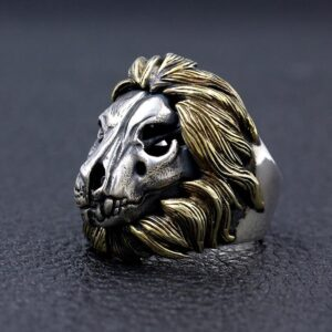 Sterling Silver Lion Head Skull Ring