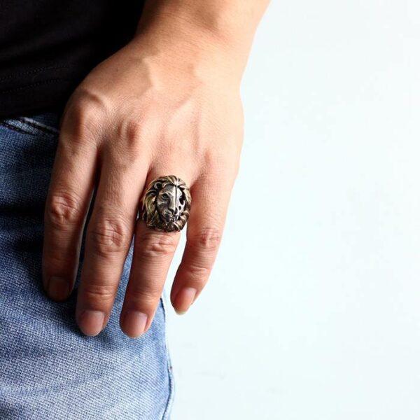 Sterling Silver Lion Head Skull Ring