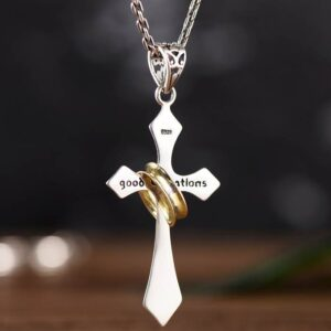 Sterling Silver Lord's Prayer Cross Halo Pendant Necklace
