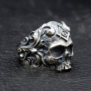 Sterling Silver Masonic Skull Ring