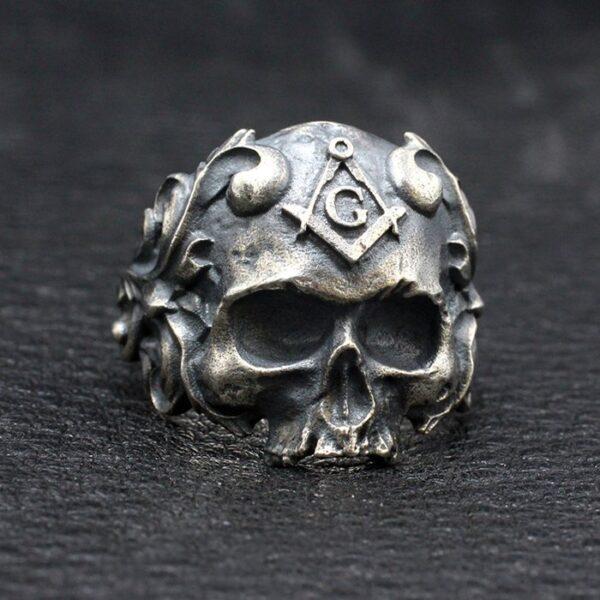 Sterling Silver Masonic Skull Ring