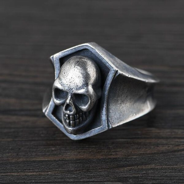 Sterling Silver Skull Shield Ring