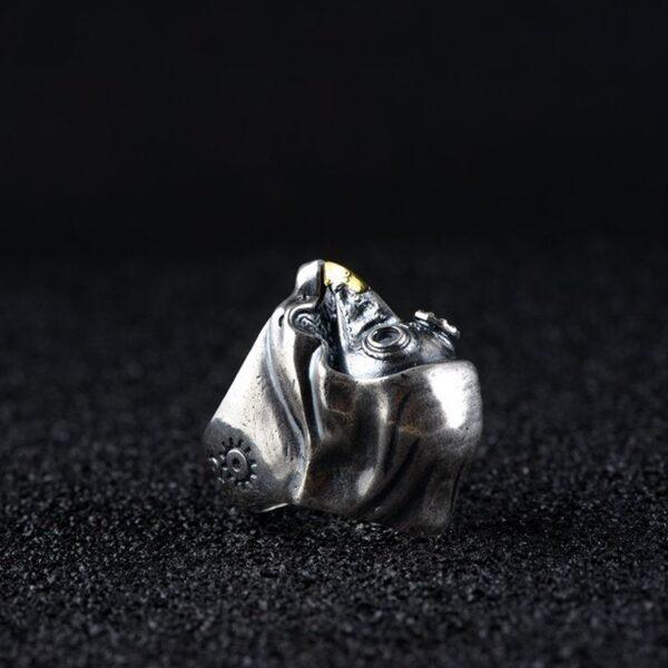 Sterling Silver Steampunk Brid Skull Ring