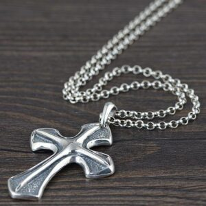 Sterling Silver Strong Shield Cross Pendant Necklace