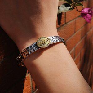 999 Sterling Silver Virgin Mary Cuff Bracelet