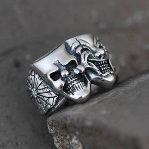 Double Clown Skull Ring