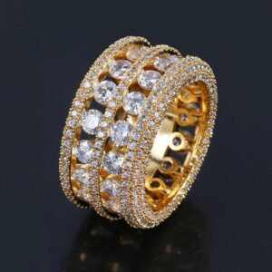 Double-Row Diamond Accent Openwork Ring