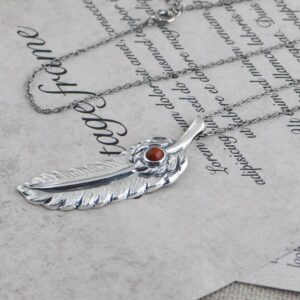 Feather Necklace Red Agate