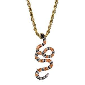 Copper Hip Hop Diamond Snake Necklace