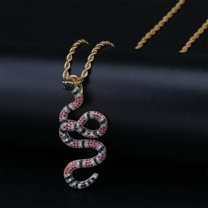 Copper Hip Hop Diamond Snake Necklace