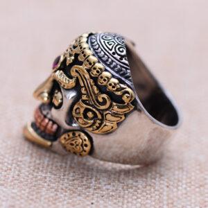 Sterling Silver Alundum Skull Ring
