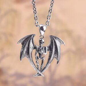 Men's Sterling Silver Bat Skeleton Pandant Necklace