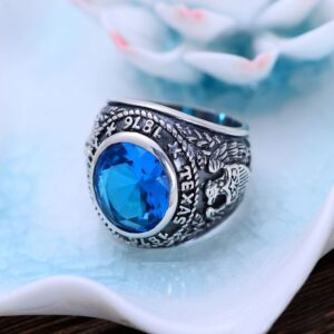 Men's Sterling Silver Eagle Sapphire Crystal Ring