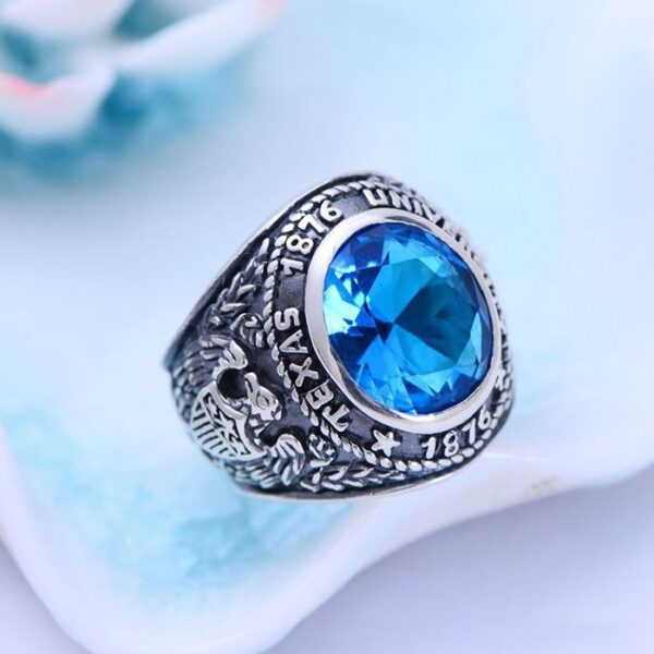 Sterling Silver Eagle Sapphire Crystal Ring