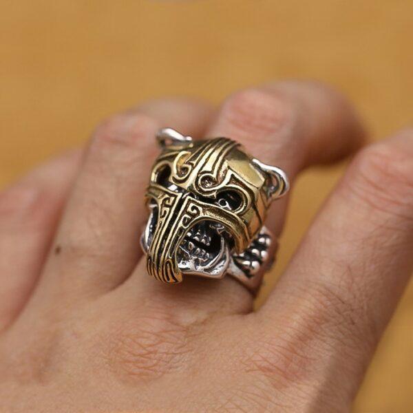 Sterling Silver Gladiator Skull Ring