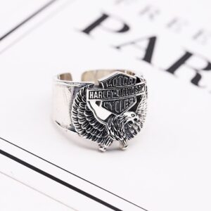 Men's Sterling Silver Harley Biker Eagle Ring