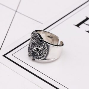 Sterling Silver Harley Biker Eagle Ring
