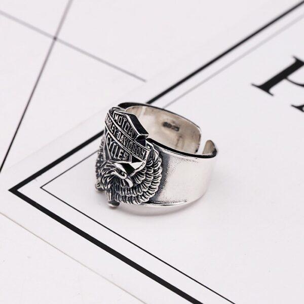 Sterling Silver Harley Biker Eagle Ring