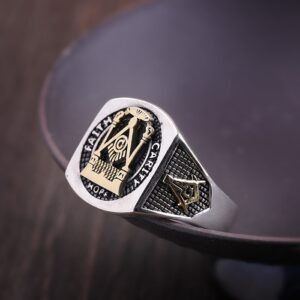 Men's Sterling Silver High Polishing Masonic Ring